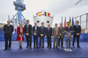 "Launching of Oceanographic vessel ""Belgica"" at Freire shipyard in Vigo"