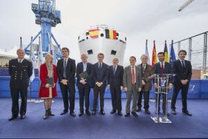 Botadura del buque oceanográfico «Belgica» en las instalaciones de CONSTRUCCIONES NAVALES P. FREIRE en Vigo